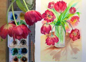 Ilustración tulipanes